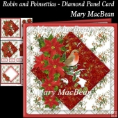 Robin and Poinsettias - Diamond Panel Card