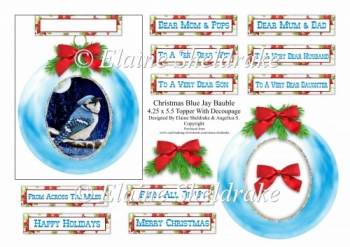 Christmas Bauble Blue Jay - To Fit A 4.25 x 5.5 Card Or Larger