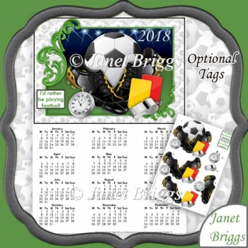 FOOTBALL 2018 A4 UK Calendar with Decoupage Kit