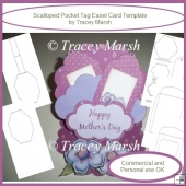 Scalloped Pocket Tag Easel Card Template - CU & PU OK