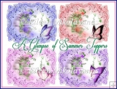 Set of 4 A Glimpse of Summer Roses Card Toppers