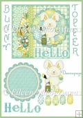 Easter Bunny HELLO Topper with Decoupage