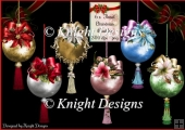 6 x Floral Christmas Baubles - PNG 300 dpi