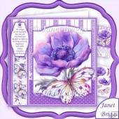 Purple Anemone & Butterfly 8x8 Decoupage Kit