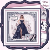 A SPECIAL EVENING NAVY 7.5 Decoupage Insert Card Kit