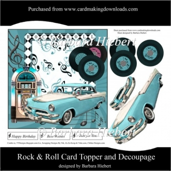 Rock & Roll Card Topper and Decoupage