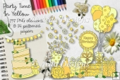 Party Time In Yellow CU Clipart & Paper