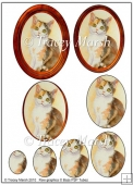 White and Tortoiseshell Cat in Oval Frame Cameo Pyramage Sheet
