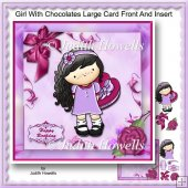 Girl With Chocolates Large Card Front And Insert