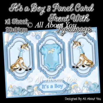 Its a Boy 3 Panel Card Front