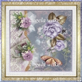 Lilac camelia 7x7 card with decoupage