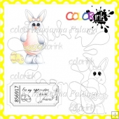 Bunny With Eggs and Sentiment Digital Stamps