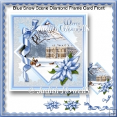 Blue Snow Scene Diamond Frame Card Front