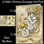 A Golden Christmas Decoupage Card Front