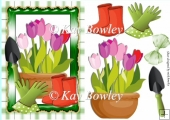 time to do some gardening with pretty tulips on gingham A5