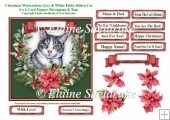 Christmas Poinsettias Watercolour Grey & White Tabby Cat - 6 x 6