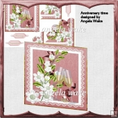 Anniversary time card with scalloped corner