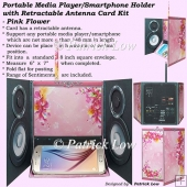 Portable Media Player/Smartphone Holder Card - Pink Flower