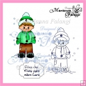 Winter Boy and sentiment Digital Stamp
