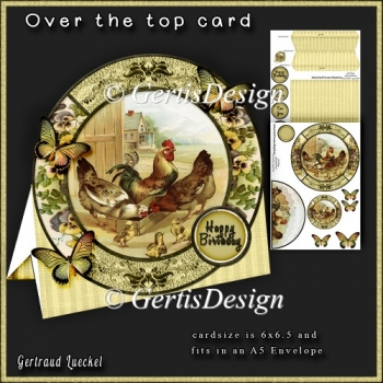 Over the Edge Round Card Kit vintage rooster