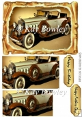 Brown Vintage Car in old scroll frame pyramids