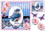 Pretty blue bird with pink roses & black lace 8x8