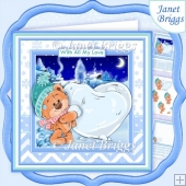 CHRISTMAS BEAR & SNOW HEART 7.5 Decoupage & Insert Kit