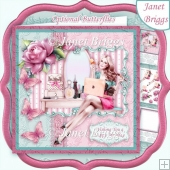 MORNING GIRL & LAPTOP 8x8 Female Birthday Decoupage & Insert Kit