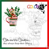 hot chocolate and kittie and sentiment Digi stamp