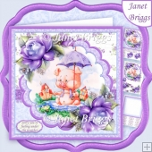 UNDER THE WEATHER PIGLET 8x8 Decoupage & Insert Kit