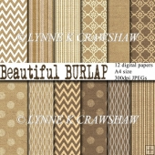 Beautiful BURLAP - 12 high quality digital papers - A4 size