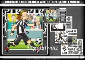 Footballer Dude Black and White Stripe 4 Sheet Mini Kit
