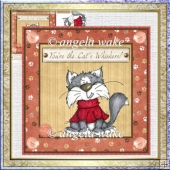 Mischievous cat 7x7 card with decoupage