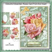 Colourful Edwardian Roses Card Front and Insert