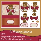 VDS31 My Valentine Bear A5 Card Front