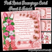 Peachy Pink Roses Decoupage Card Front
