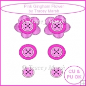 Little Doodles Pink Gingham Flower - CU & PU OK
