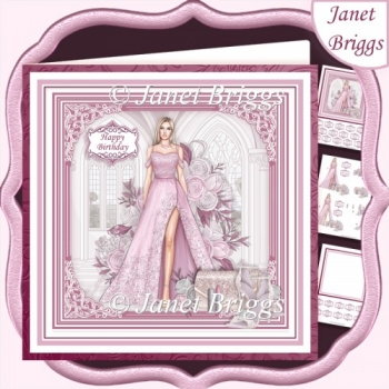 A SPECIAL EVENING PINK & BLONDE 7.5 Decoupage Insert Card Kit