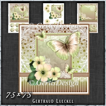 Vintage Pastel Shabby Butterfly Flower 1411