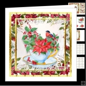Christmas Bird With Poinsettia and Holly