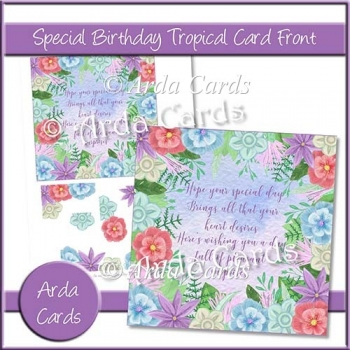 Special Birthday Tropical Card Front
