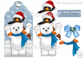 cute polar bear and penguin on a christmas tag