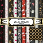 Love Hearts Set One - Ten 12 x 12 Papers