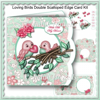 Loving Birds Double Scalloped Edge Card Kit