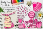 Party Time In Pink CU Clipart & Paper