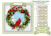 Christmas Holly Wreath Cardinal Card Topper & Tags
