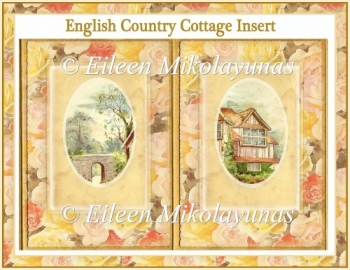 English Country Cottage Open Book Card Insert