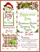 Peppermint Patty Christmas Pocket Greeting Tag Topper