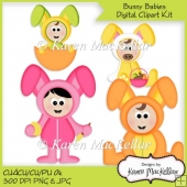 CU4CU Bunny Babies Easter Clipart Digital Download 300dpi