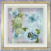 Blue poppy and butterfly 7x7 card with decoupage